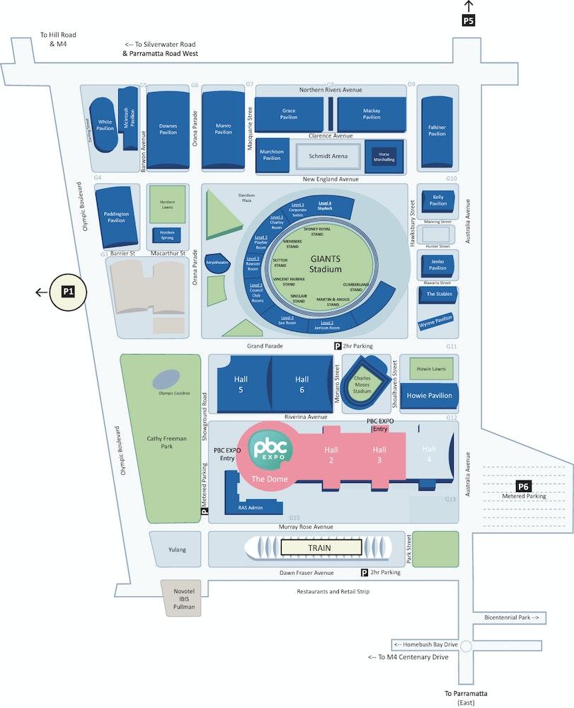 Sydney showground map