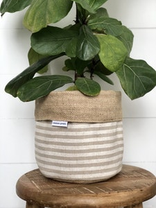 Pot Plant Cover - Taupe Stripe and Hessian Reversible