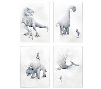 Dinosaur Prints - Set of 4 Prints - A4 Size