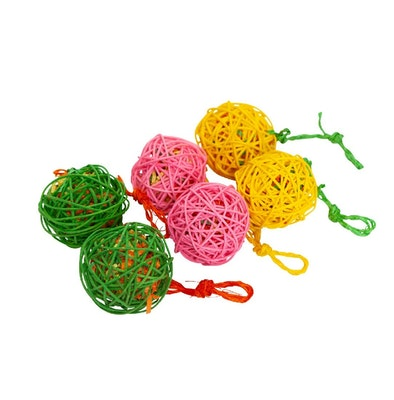 Kazoo Color Wicker Ball W Crinkle & Sisal Large 6pk