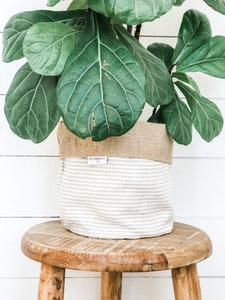 Pot Plant Cover - Bengal Pencil Stripe Natural and Hessian Reversible