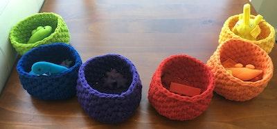 Kipepeo Rainbow crochet baskets - set of 6