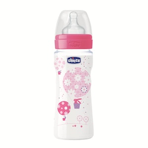 Chicco Well-Being Silicone Bottle 4m+ 330ml Girl