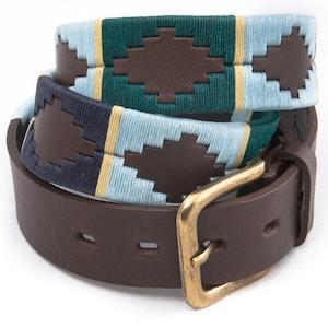 Pioneros Belt Green, Pale Blue, Navy, Cream Stripe 156