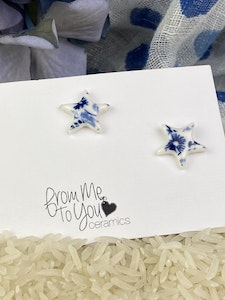 Blue and White Floral Print Star Stud Earrings - Sterling Silver Posts