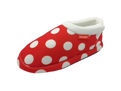 Boutique Medical ARCHLINE Orthotic Slippers CLOSED Back Scuffs Moccasins Pain Relief - Red Polka Dots