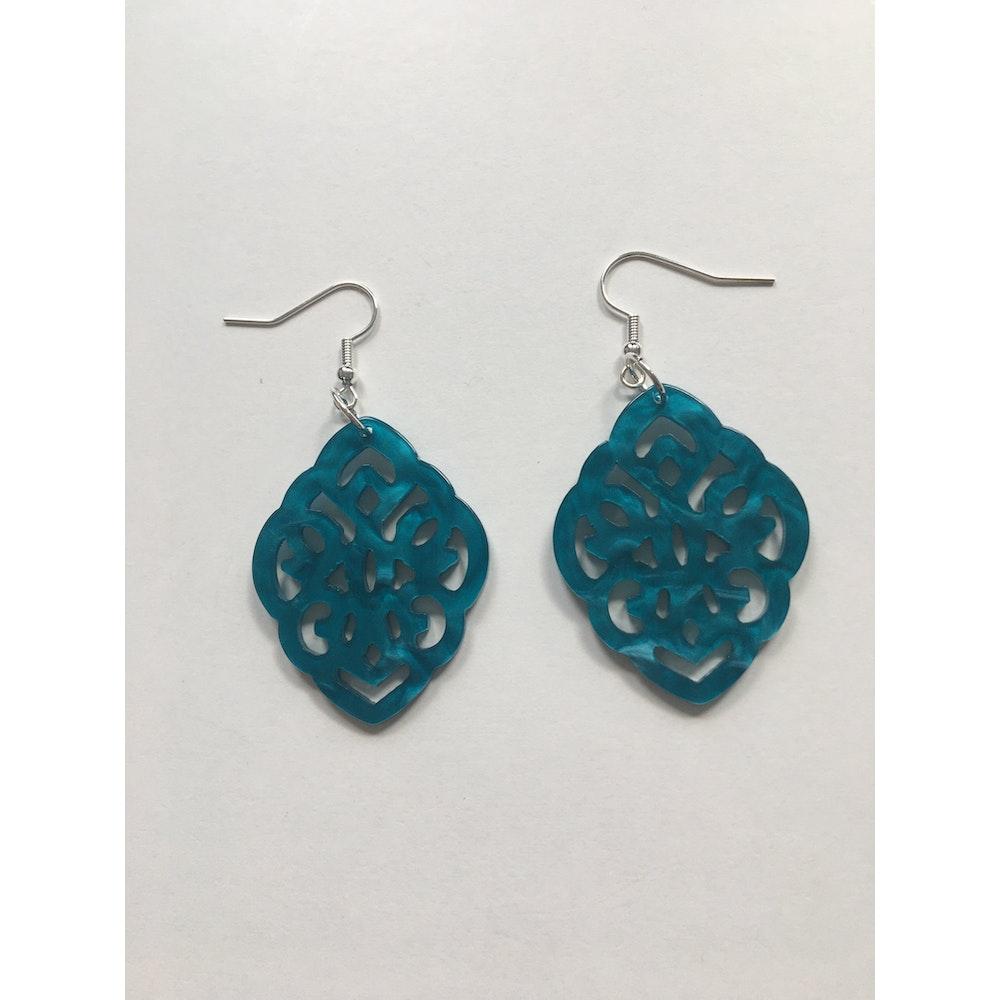 One of a Kind Club Blue Resin Shaped Earrings