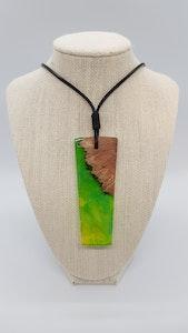 Yindi Artz Green, yellow, blue, smoke and yellow box pendant (large)