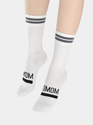 Soomom Reflective Chic Logo Cycling Socks - White