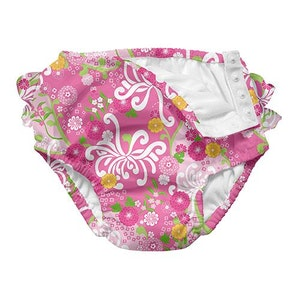 green sprouts Mix and Match Ultimate Ruffle Snap Swim Diaper - Light Pink Mum Garden