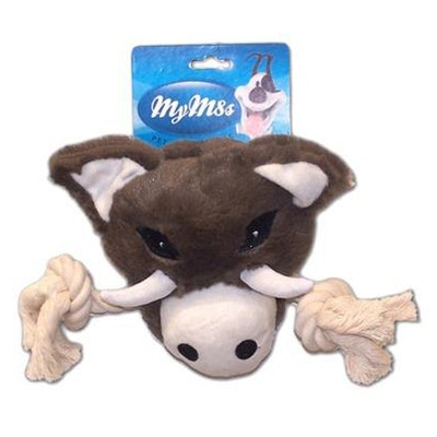 My M8s Plush Boar Head Interactive Play Dog Chew Toy