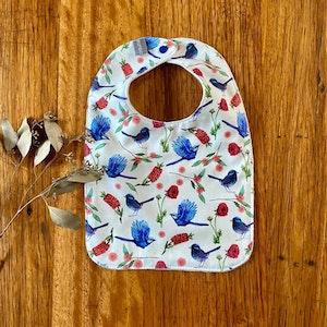 bib - blue wrens & bottlebrush / eco friendly / organic cotton hemp / baby shower gift / Australian bird turquoise blue red flowers plants
