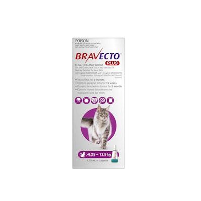 BRAVECTO PLUS Flea, Tick & Worming Treatment 6.25-12.5kg Cat 2 Month Pack