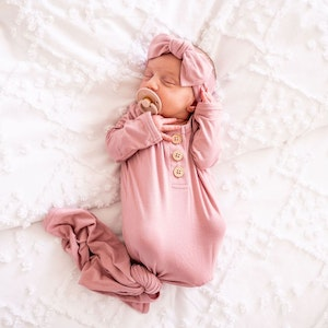 Marli & Me Bamboo Jersey Knotted Baby Gown | Vintage Rose