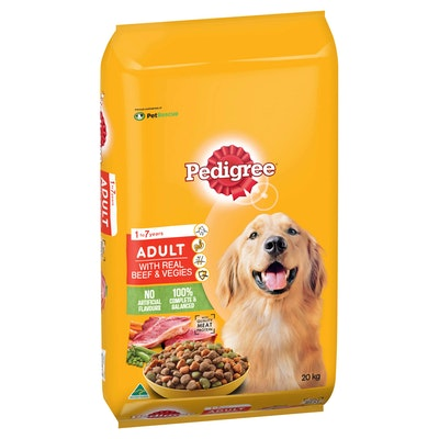 Pedigree Medium Breed Adult Real Beef & Vegetables Dry Dog Food 20kg