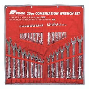 PK Tools Combination Wrench Spanner 30pc Set Metric SAE +Tool Roll