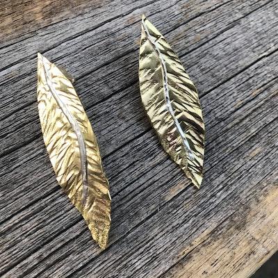 Sarah Munnings Jewellery Brass Leaf earrings