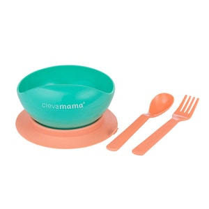 ClevaMama Feeding Bowl & Cutlery Set with Suction Ring