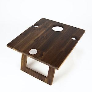 FOLDING WINE TABLE - 2 GLASS HARDWOOD
