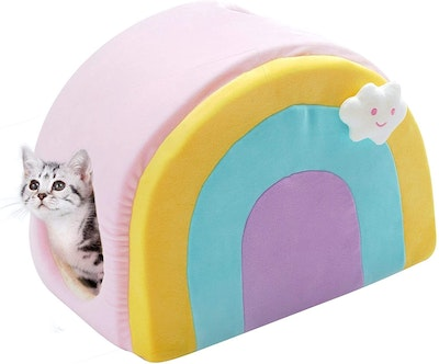 All Fur You All  Fur You Rainbow Cat House Plush Indoor Cat Bed Pink