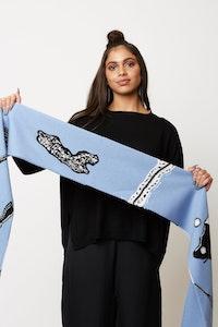 ngali Blue Patterned Knit Scarf