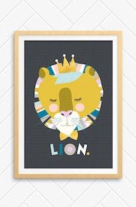 'Lenni Lion' Unframed Print - A4 Size