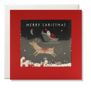 Santa And Reindeer Card