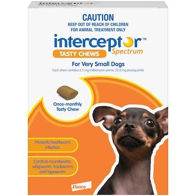 Interceptor Spectrum 1+ Kilos Small Dogs Tasty Chews Brown - 2 Sizes