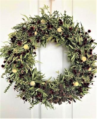 Bambole Designs WREATH, All Year Wreath, CENTRE PIECE, Dried Red Flowers & Gum nuts Wreath, Rustic Wreath, Christmas, Gift Idea 2021