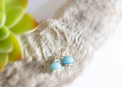Uniqu-Lea Yours Blue Jade and Hill Tribe Silver Earrings