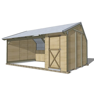 Horse Shelter with single tack shed - HMS401TK1 - 5.8m x 3.5m x 2.9m high