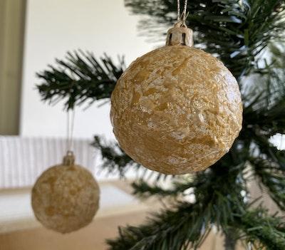 Fiona Adams Artwork Gold Christmas Tree Decorations (set of 2)