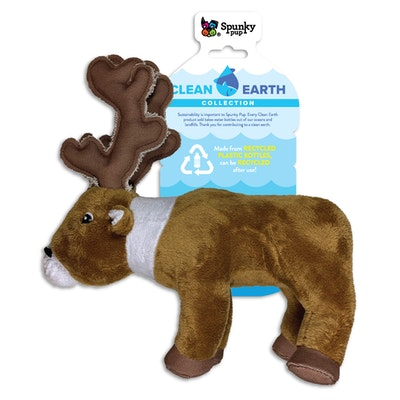 Spunky Pup Clean Earth Plush Caribou Dog Squeaker Toy - 2 Sizes