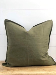 Cushion Cover - Fig 100% Washed European Linen Cushion Cover with Flange