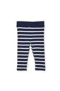 Milky - Waffle Stripe Baby Pants - Navy/White