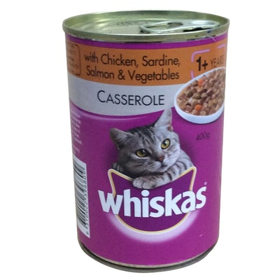 Whiskas Adult 1+ Wet Cat Food Casserole w/ Chicken Sardine Salmon 24 x 400g