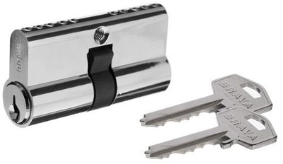 Brava double european style lazy cam screen door lock cylinder keyed in Gainsborough TE2 profile chrome plate finish