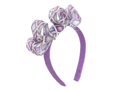 Jenny's Original Designs Purple, white and Silver Bow on Purple ribbon Headband