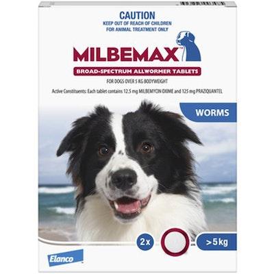 Milbemax Over 5kg Dog Broad Spectrum Allwormer Tablets - 2 Sizes