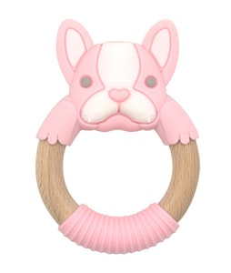 BibiLand BibiBaby Teething Ring - Frankie Frenchie -Pink and White