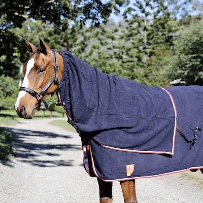 Capriole Equestrian Navy Fleece Neck Rugs - Red Trim