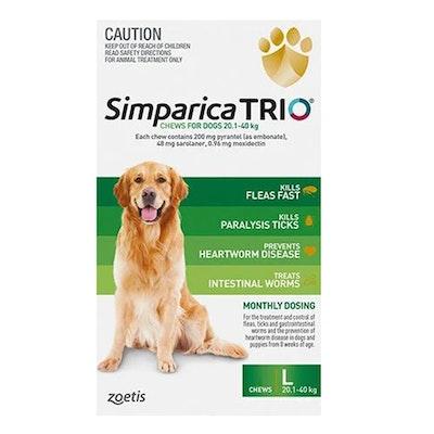 SIMPARICA Trio Flea & Tick Control for Dogs 20.1-40kg Green - 2 Sizes