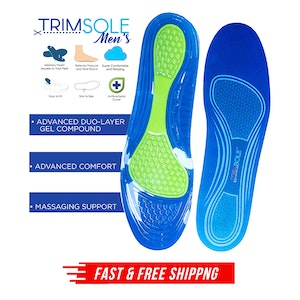 TRIMSOLE Men's Gel Advanced Insoles Silicone Antibacterial Inserts Pads Massage