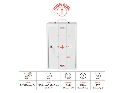 WH Safe Mediq First Aid kit Incident Ready Modular Metal Cabinet