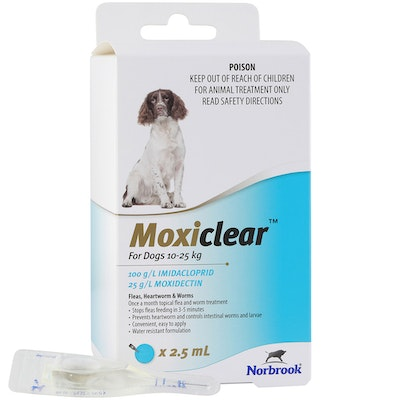 MOXICLEAR Fleas & Worms Treatment for Dogs 10-25kg Blue - 2 Sizes