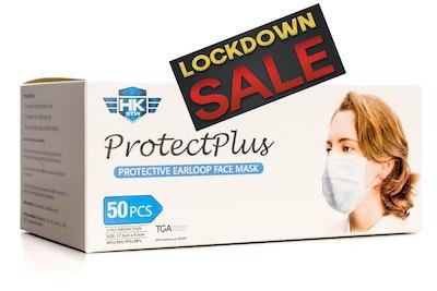 HK - STW 3-ply LOCKDOWN Sale !!! Volume discount applies. See drop down menu for details. 50 x HKSTW ProtectPlus Disposable Earloop Face Masks ARTG #343444 New Packaging