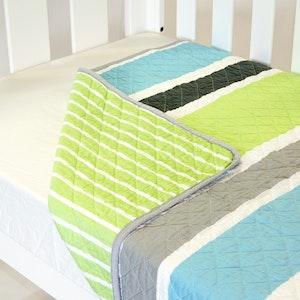 Babyhood Cot Quilt Coverlet  Summer Stripe