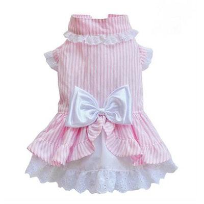 DoggyDolly SMALL DOG - Bo-Peep Doggy Dress Pink Stripe