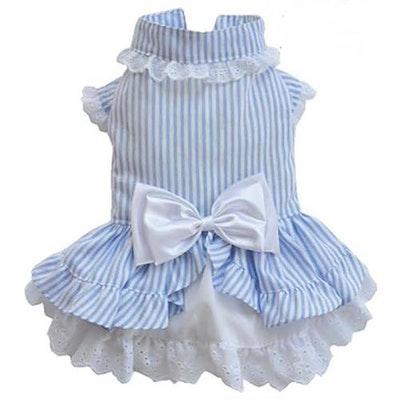 DoggyDolly SMALL DOG - Bo-Peep Doggy Dress Blue Stripe