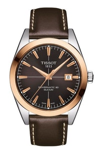 Tissot Gentleman Powermatic 80 Silicium Solid 18K Gold bezel with Brown Leather Strap